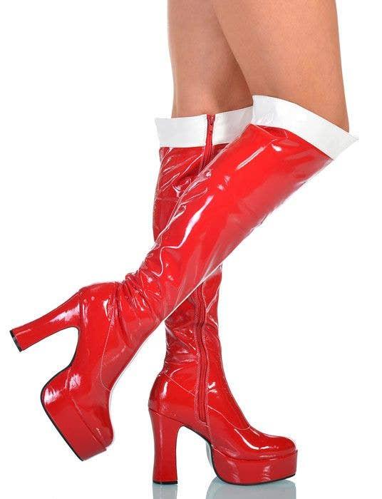 WONDER WOMAN BOOTS Adult Knee-High Vinyl Shoes Super Hero Platform