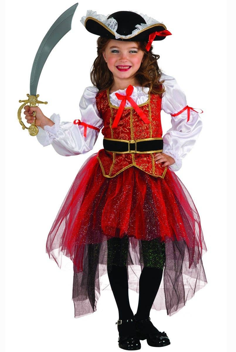 Halloween Girls Ghost Ship Zombie Dead Doll Pirate Costume ~ Age 7-9