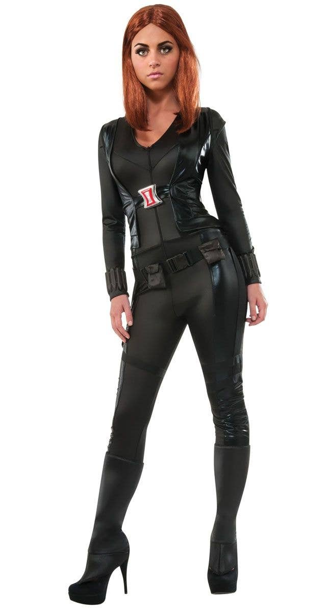 Fitted Black Avengers Costume Jumpsuit Womens Black Widow Costume