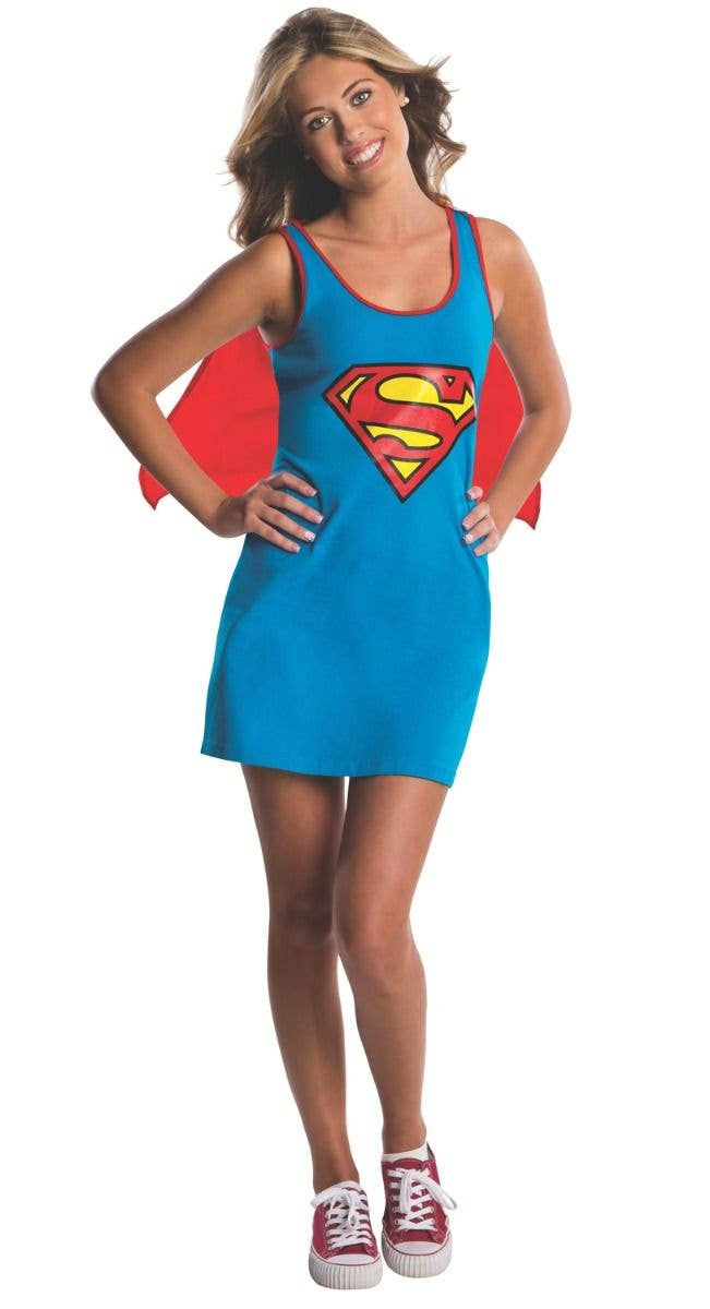 Supergirl Stretch Tank Dress with Rhinestone Logo and Satiny Cape New by Rubies