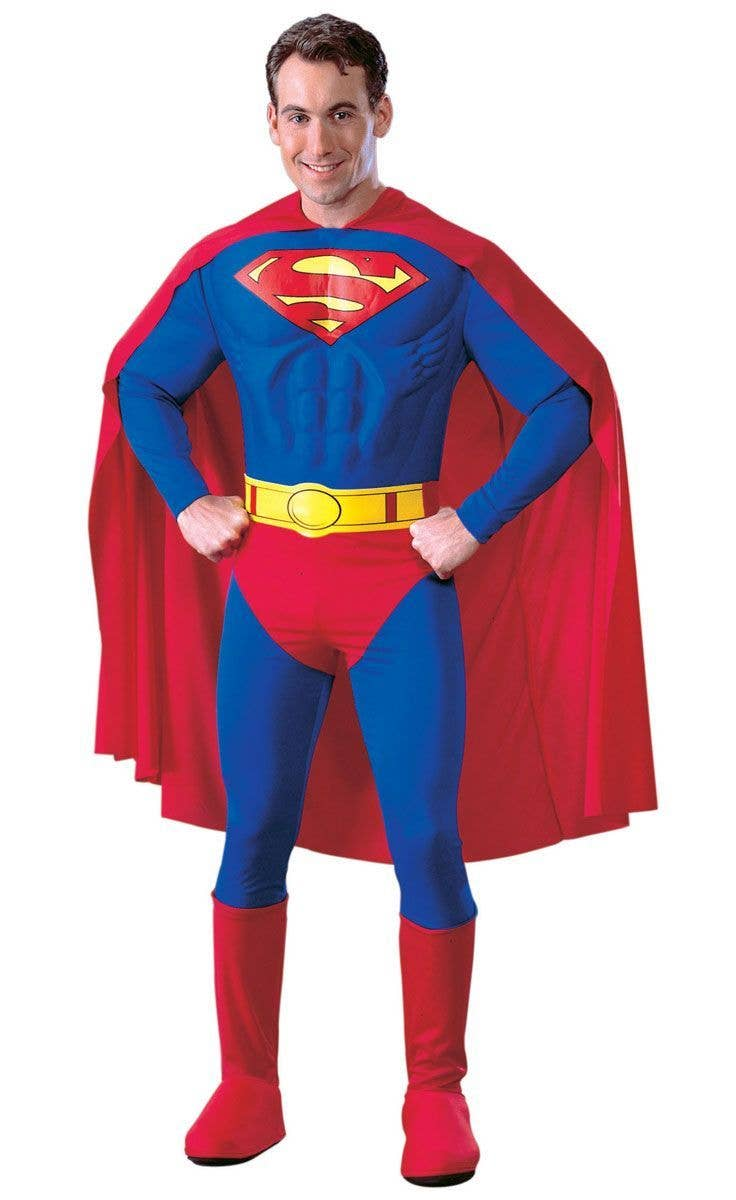 Cape Movie Adults Outfit Mens Superhero Muscle Fancy Dress Costume