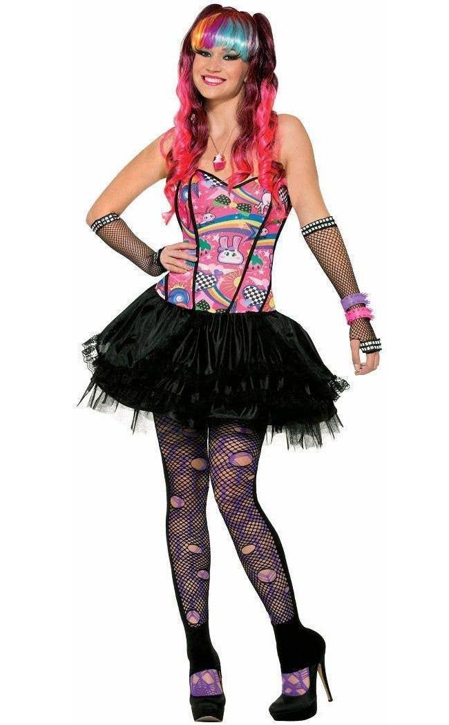 Pink Zebra Print Tights Retro Nu Rave Fancy Dress