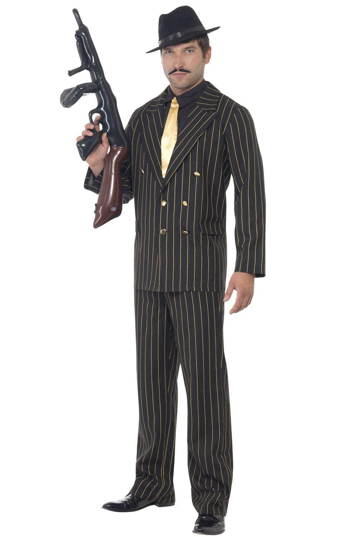 Costume Fancy Dress Mafia Medium Black /& Gold Mens Pinstripe Gangster Suit