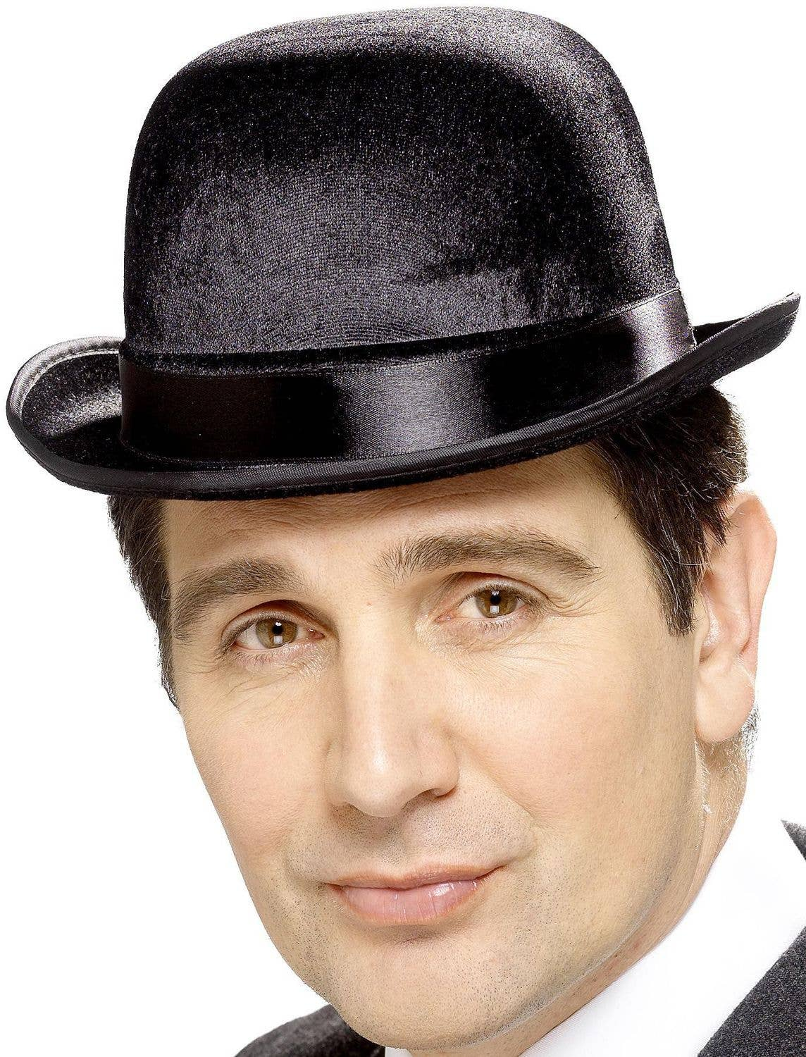 Mens Fancy Dress Bowler Hat English Gent Velour Bowler Gents with Satin Band