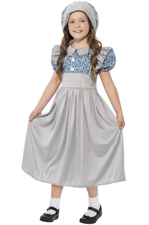 Victorian Schoolgirl Girls Costume Kids Fancy Dress School Book Week Outfit