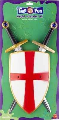 Child Medieval Knight Crusader Set Swords /& Shield Fancy Dress Costume Accessory