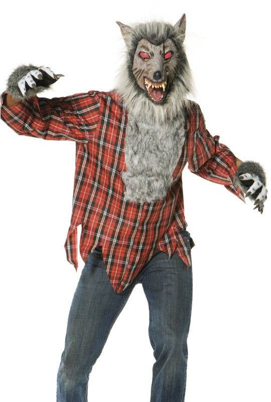 Smiffys Mens Wolf Mask with Faux Fur