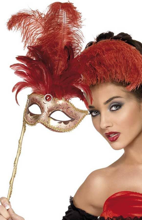 Women/'s Red Metallic Venetian Feather Masquerade Mask