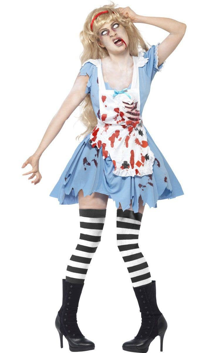Tights Ladies Halloween Fancy Dress Womens Horror Adults Costume Zombie Alice