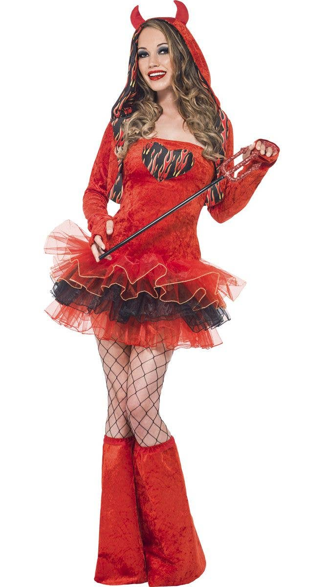 Demons and Devils Elegant Halloween Costume Womens Fancy Dress Flames Std