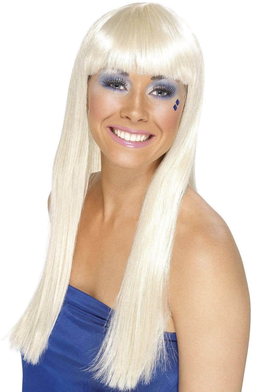 Women S Long Blonde Wig With Fringe Platinum Blonde Women S Wig