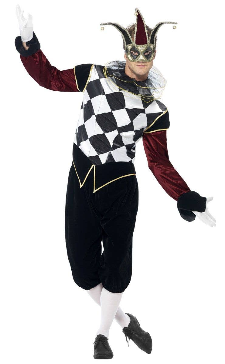 Ladies Harlequin Jester Evil Clown Gothic Costume  Halloween Fancy Dress Outfit