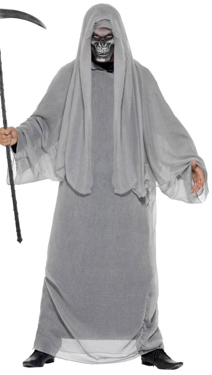 Mens Grim Reaper Costume Mask Ghost Horror Death Adult Halloween Fancy Dress