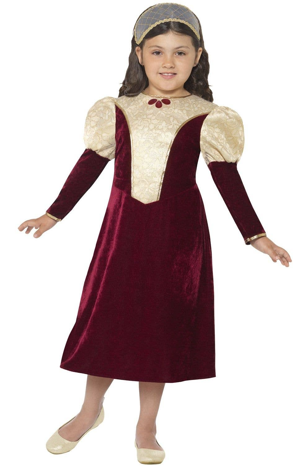 Girls Tudor Costume Childs Medieval Princess Queen Fancy Dress Book Week Outfit