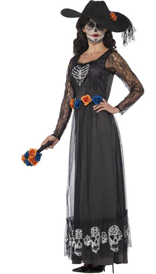 Ladies Adults Day Of The Dead Mini Top Hat Halloween Fancy Dress Roses Lace Veil