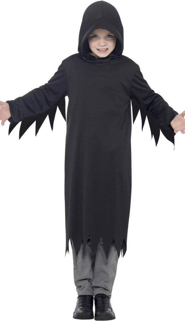 Mens Screamer Grim Reaper Fancy Dress Costume Adults Halloween Outfit Gown Hood