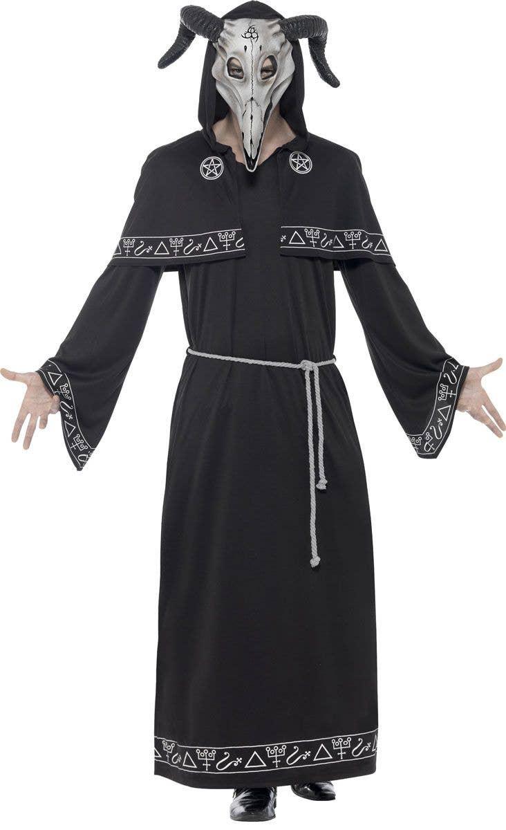 Gothic Punk Black Warlock Coat Long Jacket Mens Costume Accessory-Std