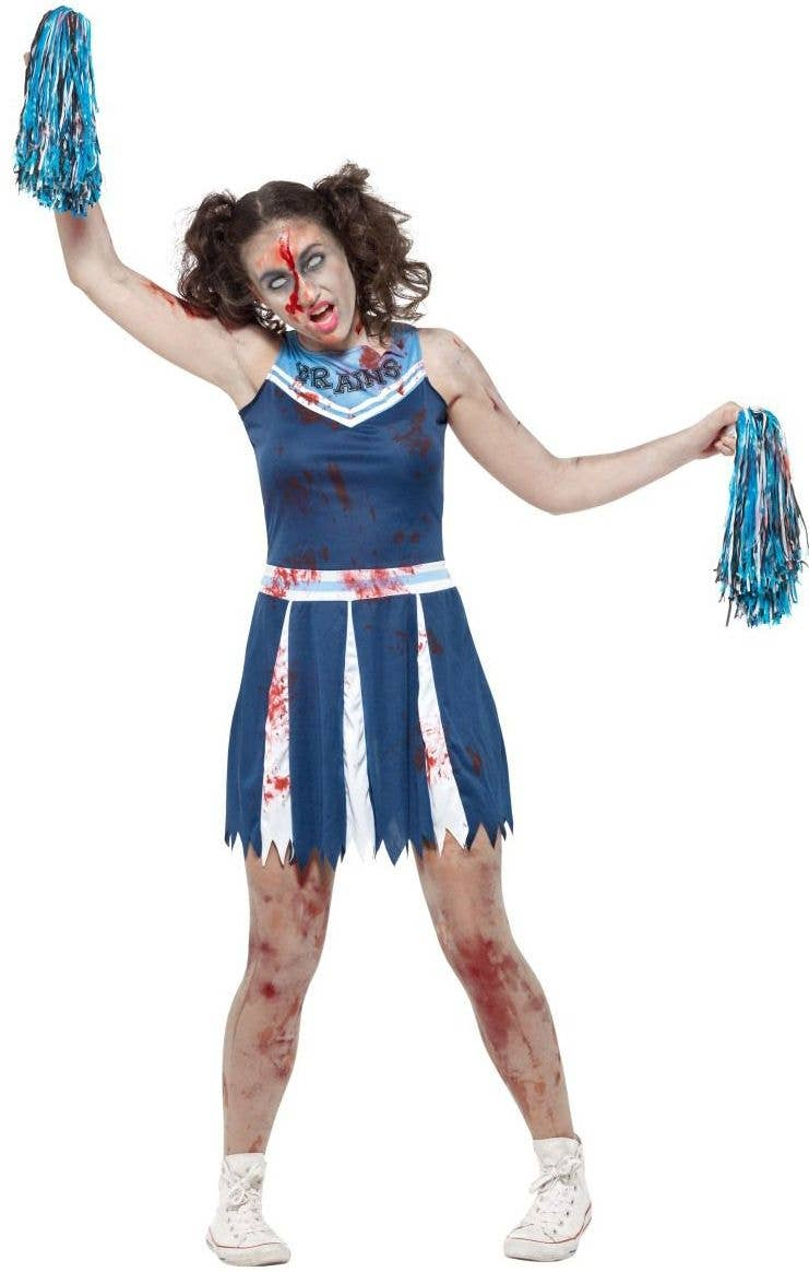 Teenage Bloody Zombie Cheerleader Costume /& Pom Poms Halloween  Fancy Dress XXL