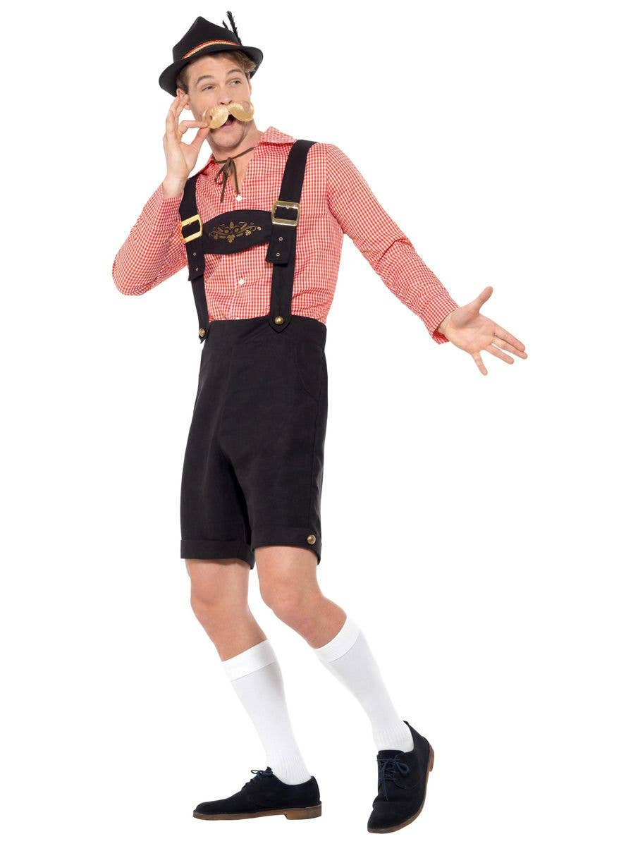 Beer Fest Shirt Mock Suede Lederhosen Oktoberfest Mens Fancy Dress Costume