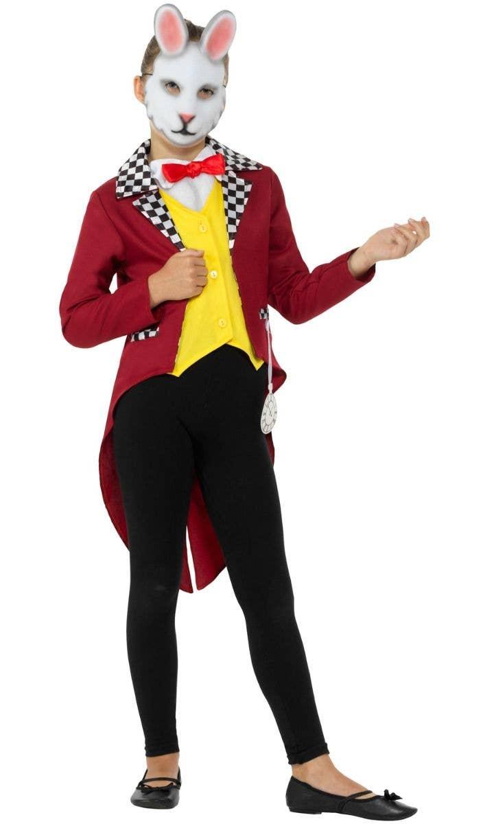 WONDERLAND KIDS BOOK CHARACTER COSTUMES QUEEN ALICE HATTER MR RABBIT FANCY DRESS