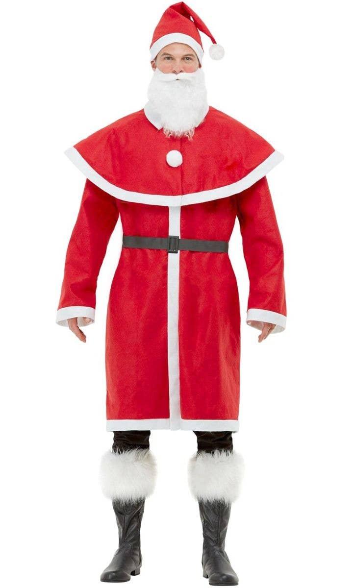 Simply Santa Claus Adult Costume Beard Belt Hat Red Economy Suit Jacket Plus XXL