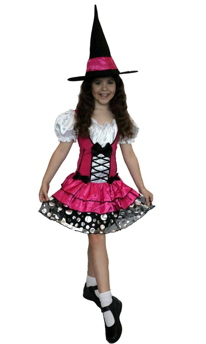 Girls Pretty Potion Witch Costume Kids Halloween Witches Fancy Dress Outfit