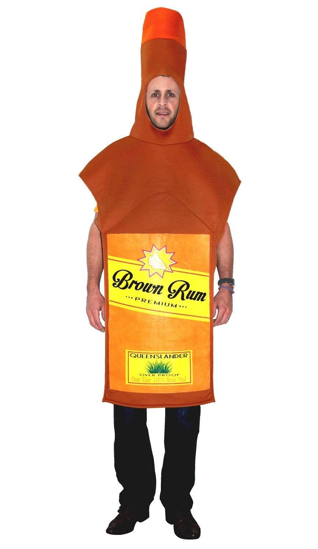 Black Spiced Rum Bottle Costume Mens Adult Fancy Dress Halloween One Size