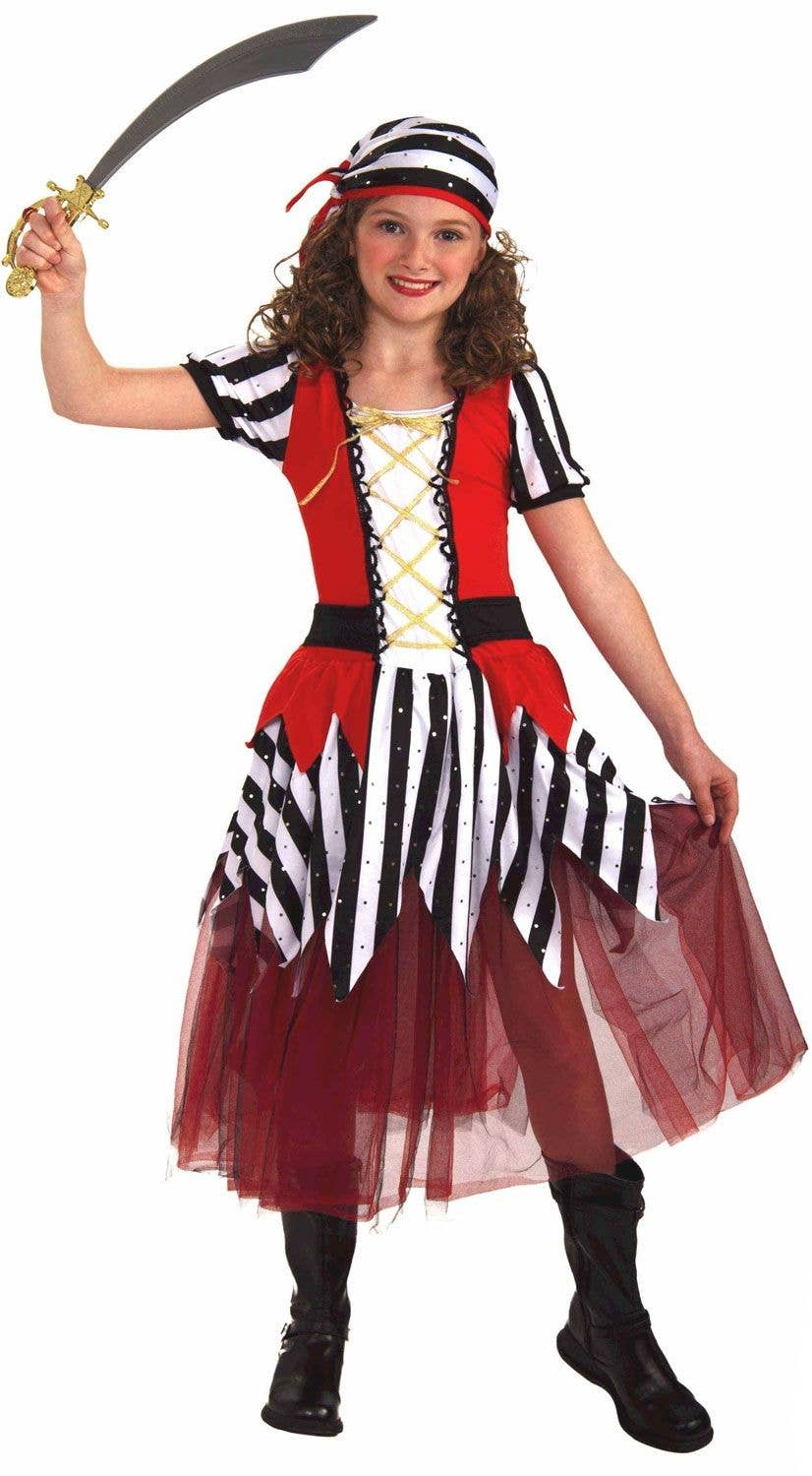 Girls Pirate Buccaneer Costume Kids Fancy Dress Outfit Book Week Party Dressup