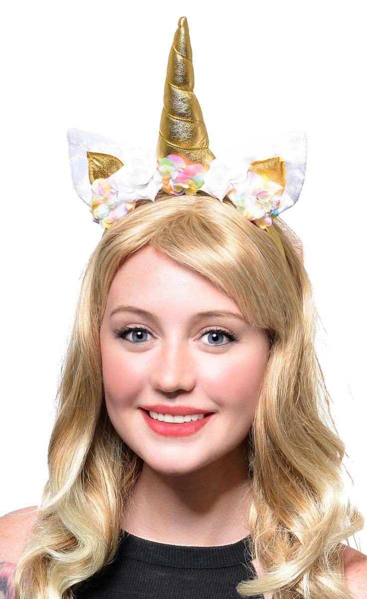 Rainbow Unicorn Horn Fluffy Headband with Veil Cosplay Party Fancy Dress
