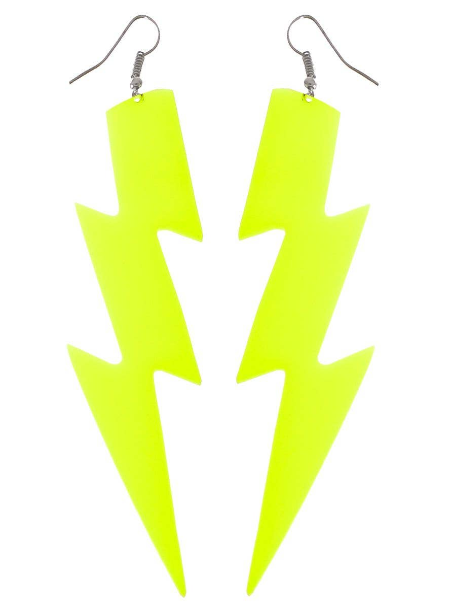 Neon Yellow Lightning Bolt Earrings Fluro 80s Costume Jewellery