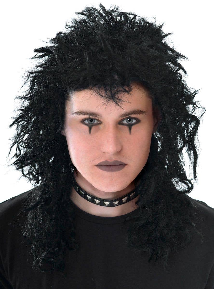 1980/'s Spiky Punk Vamp Black Deluxe Wig Mullet Styled Costume Wig