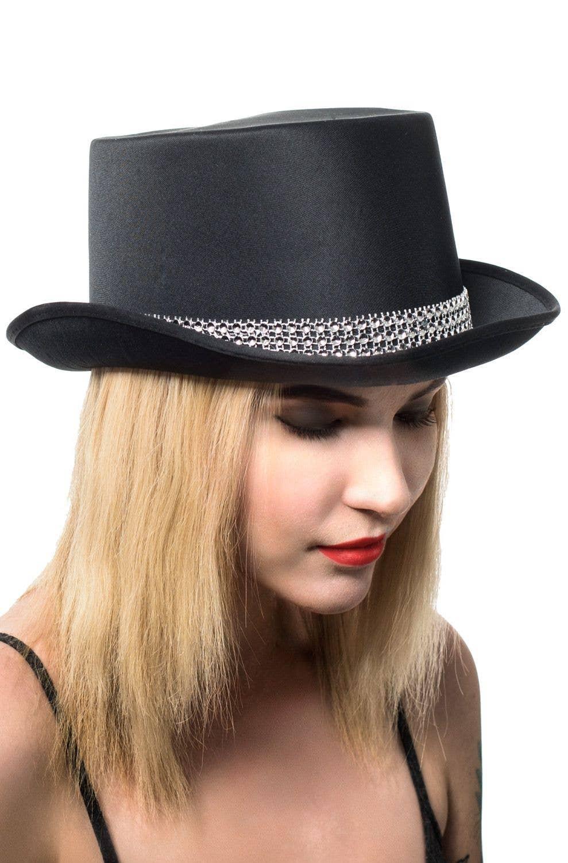 1930s Cabaret Showgirl Black Satin Bowler Hat