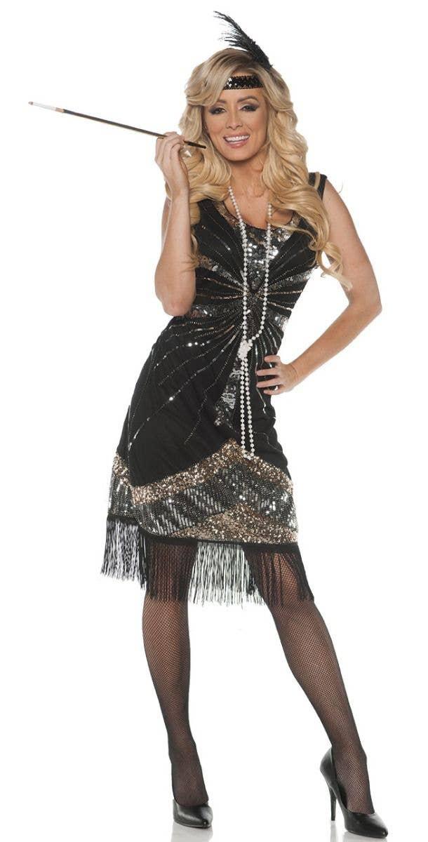 Ladies 20s 1920s Green Roaring Flapper Costume Black Sequin Gatsby Fancy Dress