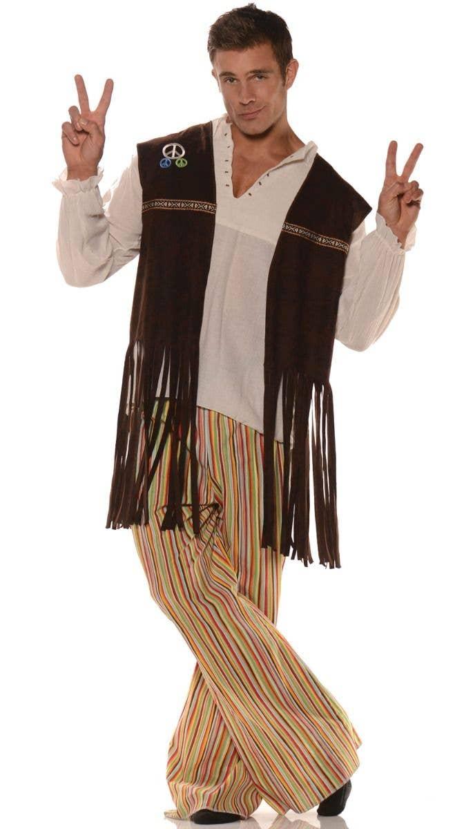 60S 70S ADULT MENS MALE PEACE RETRO HIPPIE FRINGE COSTUME VEST XL PLUS BROWN