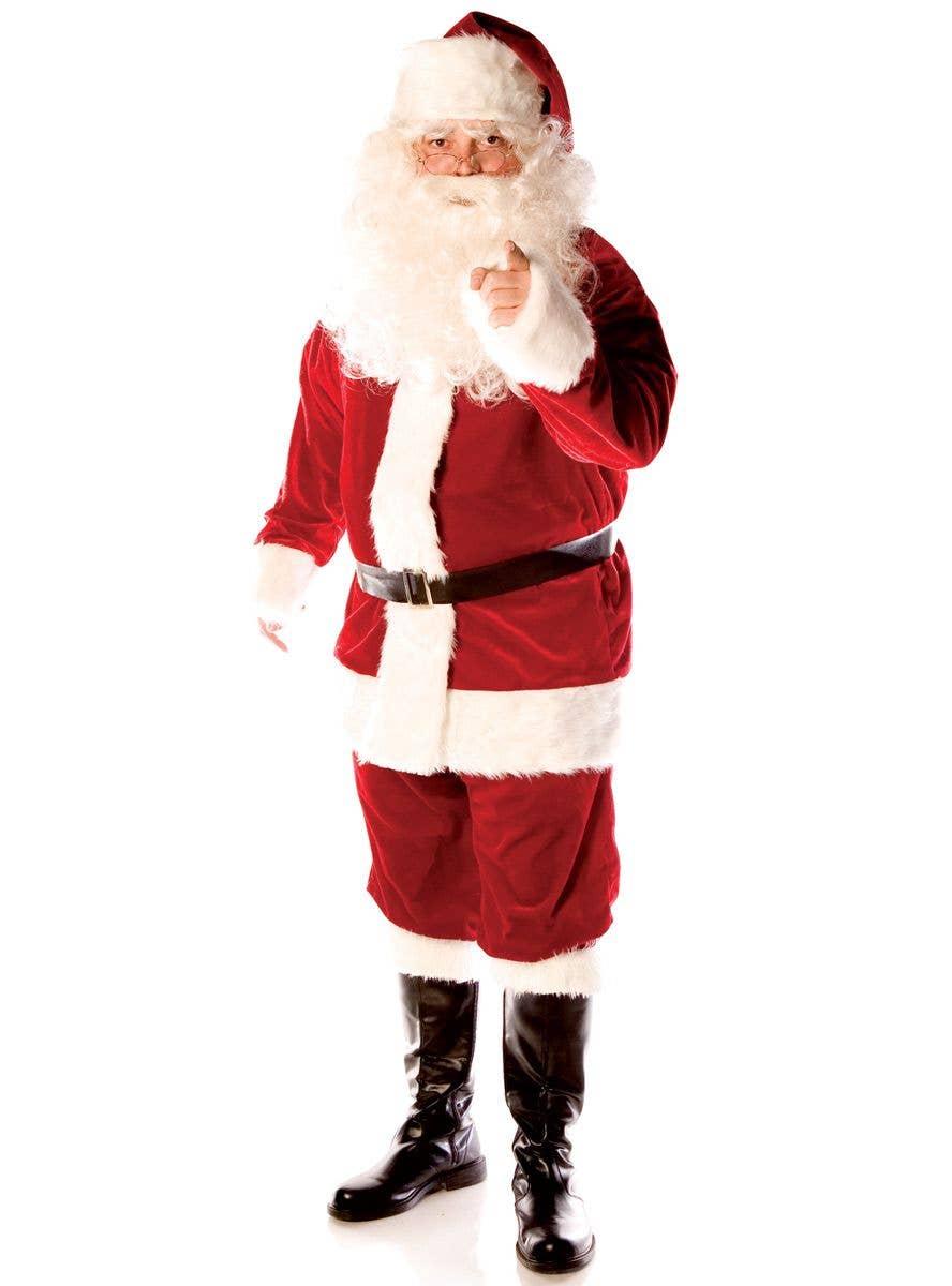 BOYS SANTA SUIT WITH BEARD FATHER CHRISTMAS CHILDREN FANCY DRESS COSTUME XMAS