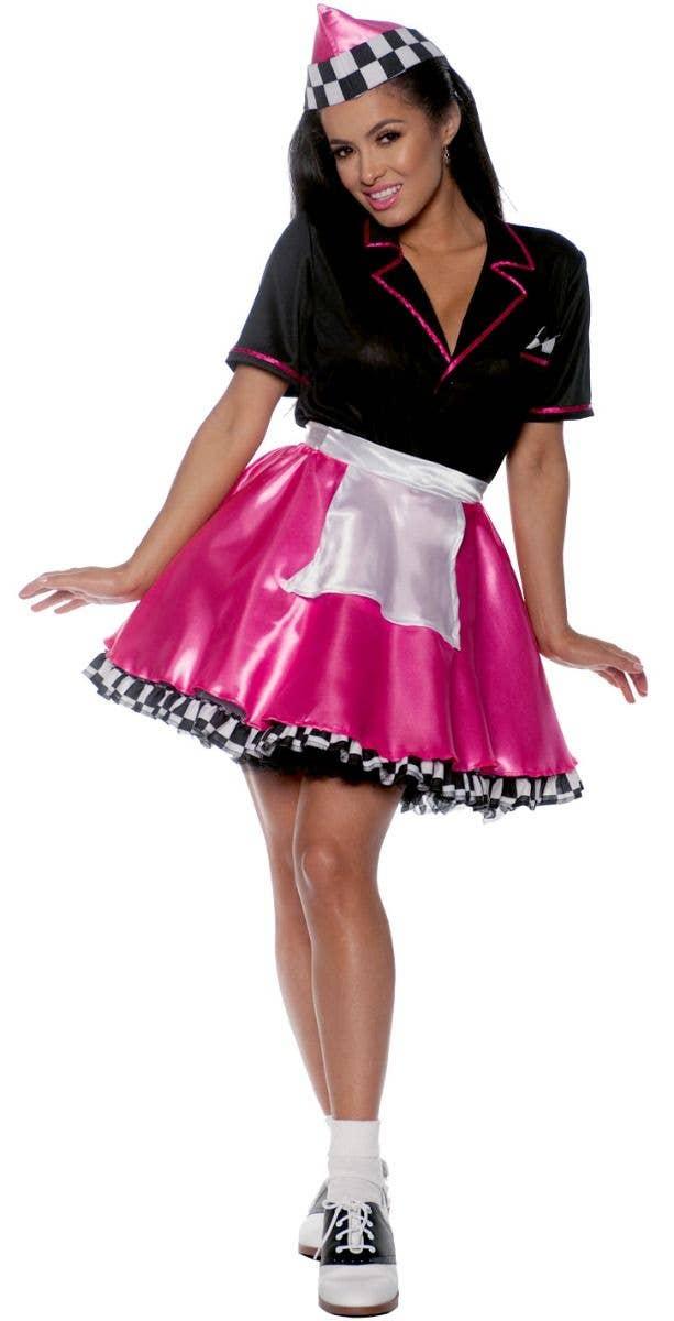 Pink 1950 S Car Hop Women S Costume Womens 50s Costume Dress
