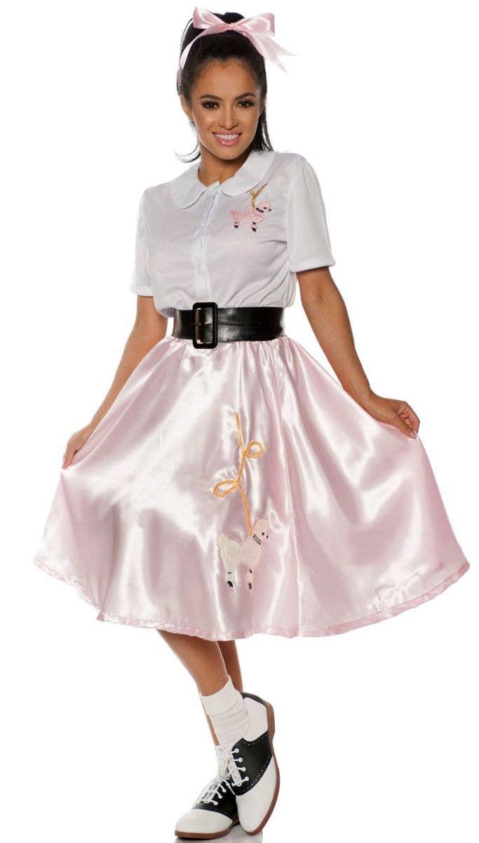 50s Costume Adult Sock Hop Poodle Dress Halloween Fancy Outfit