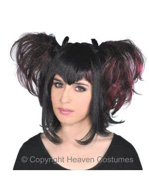 Dark Angel Black and Maroon Halloween Costume Wig