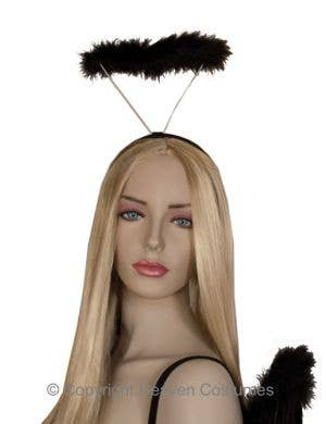 Angel Halo in Black Fluffy Marabou Feathers