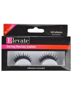 False Black Eyelashes with Blue Diamantes