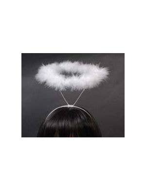 Angel Halo in White Fluffy Marabou Feathers