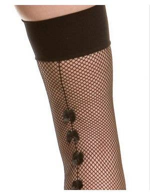 Fishnet Thigh Highs with Bow Back Seam