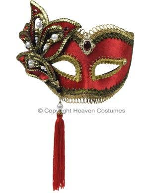 Luxury Brilliant Red Leaf Masquerade Mask