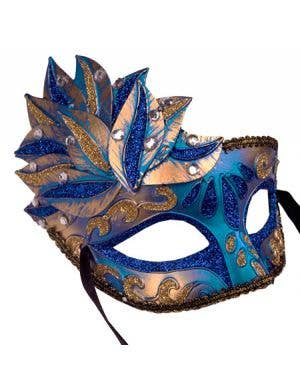 Side Overlay Blue & Gold Adult's Venetian Mask