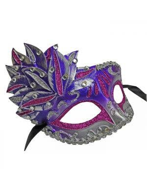Side Overlay Purple & Silver Adult's Venetian Mask