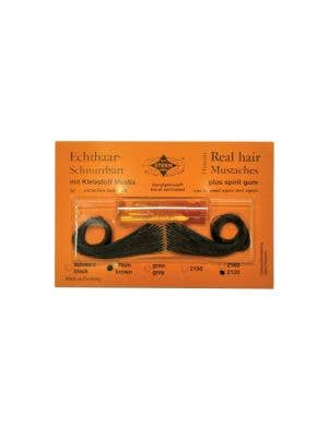 Real Human Hair Black Moustache with Spirit Gum