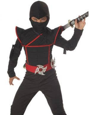 Stealthy Black and Red Ninja Boys Fancy Dress Costume