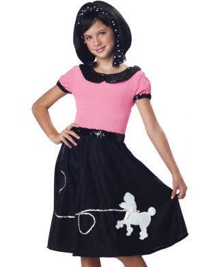 50's Girls Pink and White Sock Hop Fancy Dress Costume