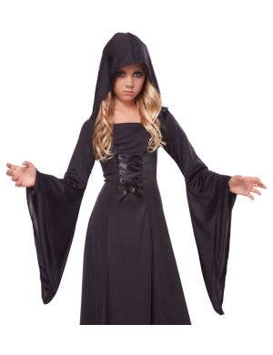 Hooded Long Black Robe Girls Halloween Costume