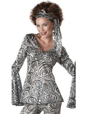 Foxy Lady Women's Sequined 1970's Disco Costume